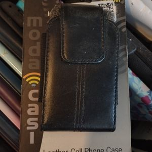 Moda leather phone case with clip